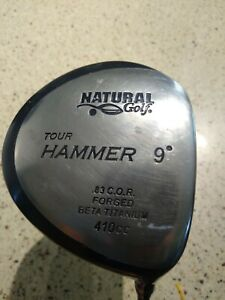 Natural Golf Driver, The HAMMER, 9 degree, Stiff Flex, Good Playable Condition
