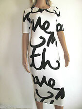 NEW RIVER ISLAND WHITE BLACK MONOCHROME SHIFT COLUMN MIDI DRESS 6 8 10 12