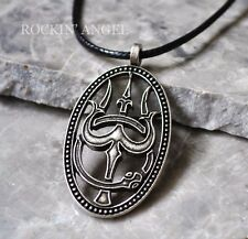 Antique Silver Plt Trishula and Ouroboros Pendant Necklace, Hindu Eternity Unity