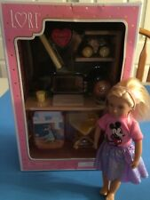 "American Girl Mini 6"" Size LORI Doll + Battat Furniture Set Desk & Accessories"