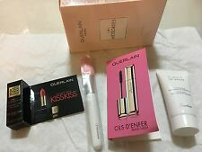 Guerlain 4pc beauty kit:meteorites brush, kisskiss rouge,mascara,milk cleanser