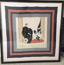 Framed Erte Silk Scarf - Theatre Loge or L'Opera - Beautiful Art Deco Piece Rare