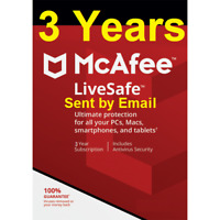 3 Years Mcafee LiveSafe 2020 Unlimited Devices 2019 Renewal