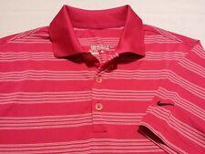 Nike Golf Dri-Fit Mens Small Short Sleeve Pink Striped Athletic Polo Golf Shirt
