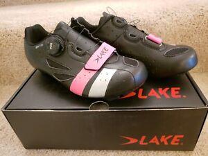 NWT Lake Black/Pink/Silver Bike Soes EU 39/US W 8/ 243.5 - 246mm