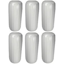 6 Pack 8 Inch x 20 Inch Center Hole White Inflatable Vinyl Fenders for Boats