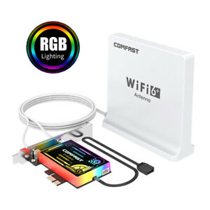 NEW 3000Mbps Intel AX200 WiFi6 PCI-E Wireless Adapter Card Bluetooth 5.1 RGB LED