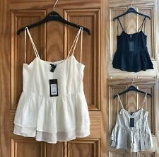 Ex NEW LOOK BRAND NEW Black White Beige Strappy Cami Top Size 6 - 16
