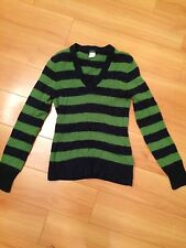 J. Crew Green & Navy Striped Wool Sweater Size M fits like a S