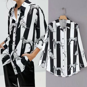 Dalmation Blouse Loose Fit Dog Lover Shirt