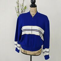 Vintage St John Collection Marie Gray Royal Blue Santana Knit Sweater Jacket M
