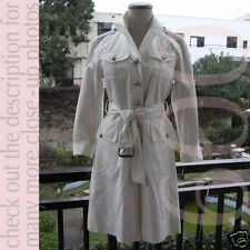 21K MARC JACOBS White Cotton Trench Oversize Coat US2 S to Small L