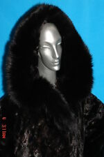 Black Plush Hooded MINK-Gorgeous SIZE LARGE TO X-L -NEW without tags