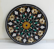 """24"""" Black Marble coffee Table Top Handmade Inlaid Marquetry Home Mosaic Decor"""