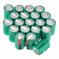 New 20 PCS Green Ni-Cd 4/5 SubC Sub C 1.2V 2200mAh Rechargeable Battery with Tab