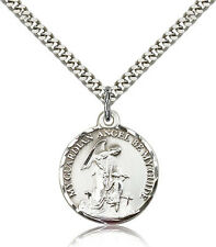 "Guardian Angel Gift Pendant 24"" Necklace 925 Sterling Silver Made in USA"
