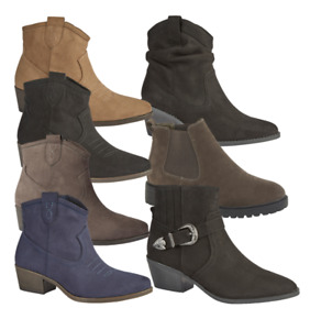 LADIES COMFY WESTERN STYLE ANKLE BOOT WITH INSIDE ZIP, BUCKLE AND STRAP SIZE 4-8