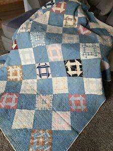 """Hand Pieced Vintage Patchwork Quilt 76""""x 69"""" Machine Quilted"""