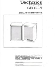 TECHNICS SB-S25 2 Way Speakers Vintage Operating Instructions Manual