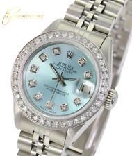 Rolex Womens Datejust Steel Ice Blue  Dial Diamond Bezel 26mm Jubilee Band