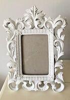 "Ornate White Scroll Rococo Baroque Frame / Photo Size 5.5"" x 3.75"""