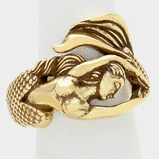 Mermaid Ring Metal Wrap Around Band Textured Metal Sea Life Beach Fish GOLD
