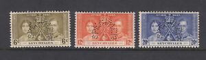 SIERRA LEONE = 1937 Coronation set/3. Perf SPECIMEN SG185s/187s-Unmounted mint