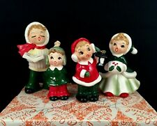 Vntg Josef Originals Figurine Set 4 Christmas Carolers Singing Boys Girl w/ Box