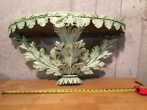 Massive Victorian architectural carved wood shelf - matching pair