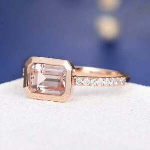 1Ct Emerald Cut Peach Morganite Bezel Women's Engagement Ring 18K Rose Gold FN