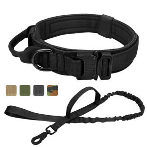 Cobra Buckle Military Tactical Dog Collar and Bungee Lead 2 Control Handles K9