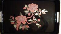 "Vintage Asahi Lacquerware Tray, 16-1/2"" x 10-1/2"", Black Floral"