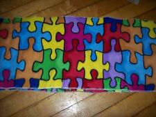 Autism awareness  puzzle pieces    personalized  scarf  fleece  fabric