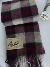 BNWT Barbour Bordeaux Red Gowan Check Lambswool Cashmere Scarf  - Made in UK