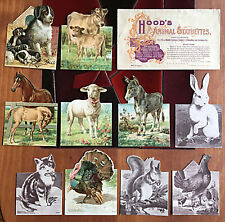 10 of 10 Hood's Animal Statuettes paper dolls with envelope 1897