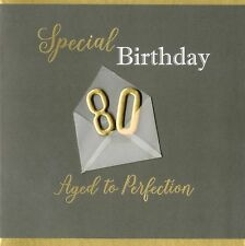 Special 80th Birthday Greeting Card Hand-Finished Notting Hill Cards