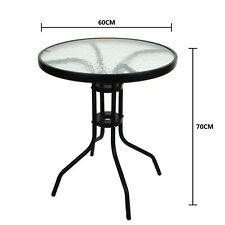More details for tempered glass top patio table metal frame legs garden outdoor indoor bistro