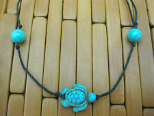 TURQUOISE TIE ON STRING TURTLE & BEADS TORTOISE YOGA BRACELET ANKLET black