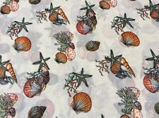 "Sea shell sea weed star fish polyester chiffon fabric on beige, 58""W, sold Bty"