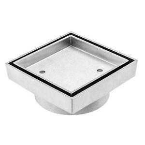 100 mm New Smart Square Floor Grate Waste Drain - Tile Insert - Brass & Chrome