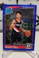 2018-19 Optic Anfernee Simons Blue Velocity Rated Rookie RC #186 Trail Blazers