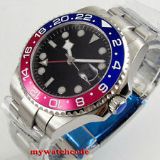 40mm sterile black dial GMT red blue Bezel sapphire glass automatic mens watch