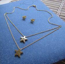 Delizioso completo multifilo collana + orecchini stelle stelline oro - Acciaio