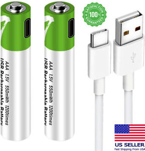 USB AA AAA 1.5V Lithium ion Rechargeable Battery Fast Charge with Type C Cable