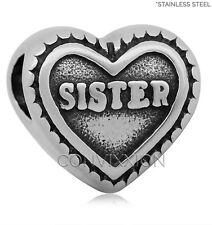Stainless Steel European Charm Bead Sister Heart Sibling Sis Love vix4pandora