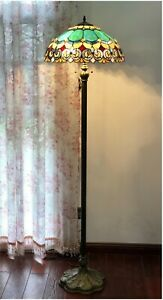 "62"" Victorian 2 Bulb Antique Dark Bronze Stained Glass Floor Lamp 18"" Shade"