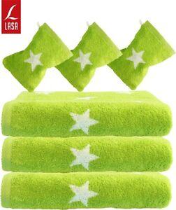 Lasa Handtuch Duschtuch Strandtuch Saunatuch Waschhandschuh Sterne grün weiß