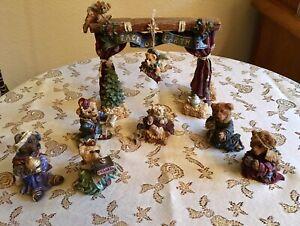 9 pc BOYDS BEARS NATIVITY SET STAGE MARY JOSEPH JESUS CRECHE CHRISTMAS BEARSTONE