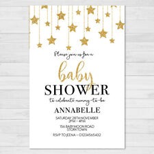 Personalised Baby Shower Invitations, 10 with Envelopes, Boy Girl Gold Stars