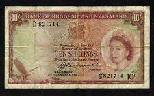Rhodesia & Nyasaland, 10 Shillings 1961, P-20b * Queen Elizabeth *